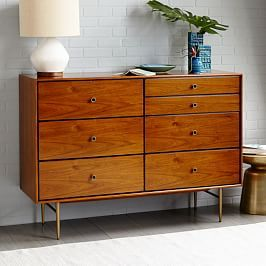 Heston Mid-Century 7-Drawer Dresser - Walnut