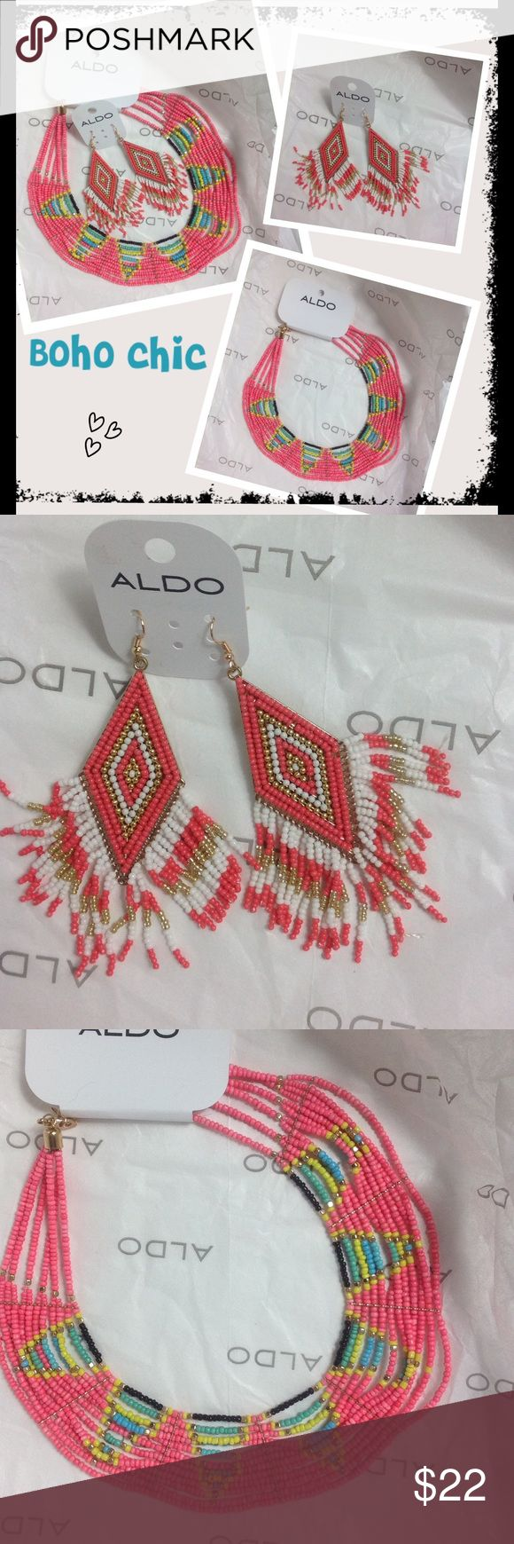 BF SALE Boho chic earrings/necklace set Aldo nwt Boho chic earrings and necklace set Aldo nwt. Great Christmas gift set or to give to yourself ;) From Aldo. Aldo Jewelry