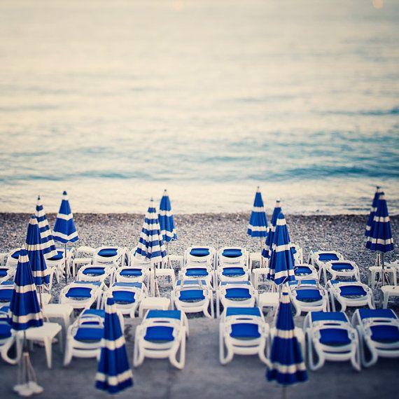 Beach photograph - Azure - Blue and white umbrellas in Nice, Cote D'Azur, France - Fine art print