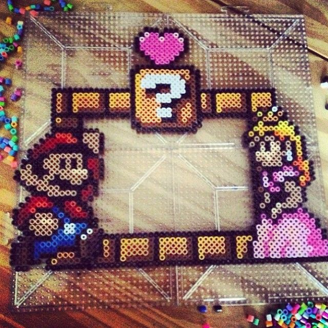 Mario Bros photo frame perler fuse beads by kikiskreations
