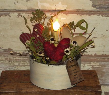 Primitive Heart Light Arrangement / Burgundy Red and Ivory Tones