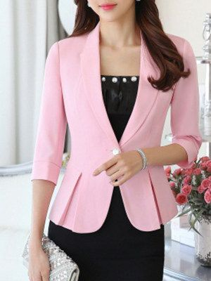 Fold-Over Collar Flounce Single Button Plain Three-Quarter Sleeve Blazers 3