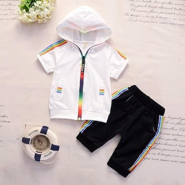 Toddler Kids Baby Boy Girl Hooded Romper Short Pants Outfits Clothes Tracksuit