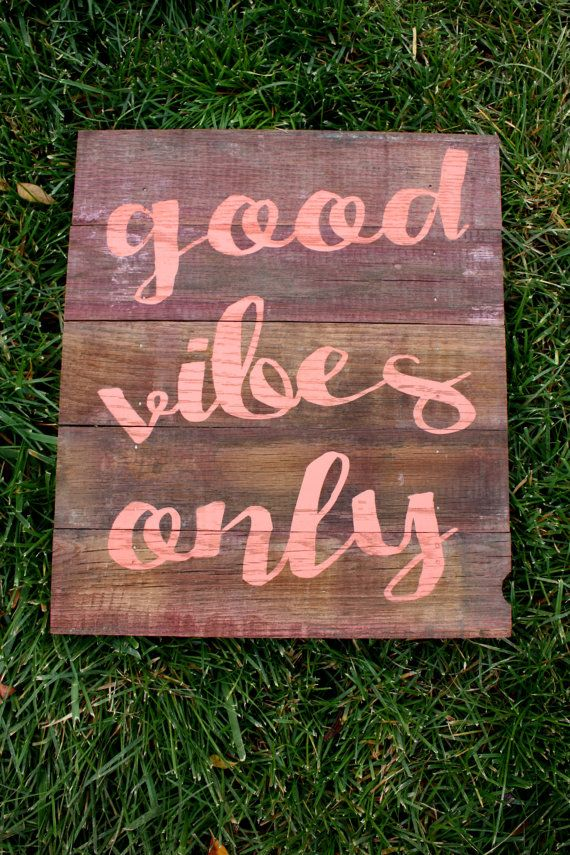 Reclaimed Rustic Boho Wood Sign: Good Vibes Only by RusticMrk