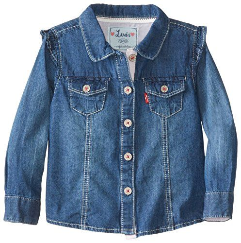 Sweet and chic, the Teri denim shirt combines classic Levi's style with elegant, feminine details. Made of lightweight denim, it's a comfortable choice tha Levi's Baby Girls' Terri Denim Shirt