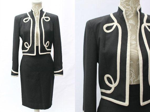 Moschino Cheap and Chic Ladies vestito XS • tuta Vintage • lana nera gonna vestito • 2 pezzo Set • Wiggle gonna Bolero giacca • progettazione Workwear