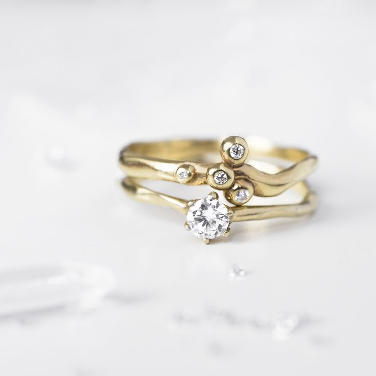 Organic ring / one of a kind yellow gold set of rings from 27JEWELRY / original diamond engagement ring