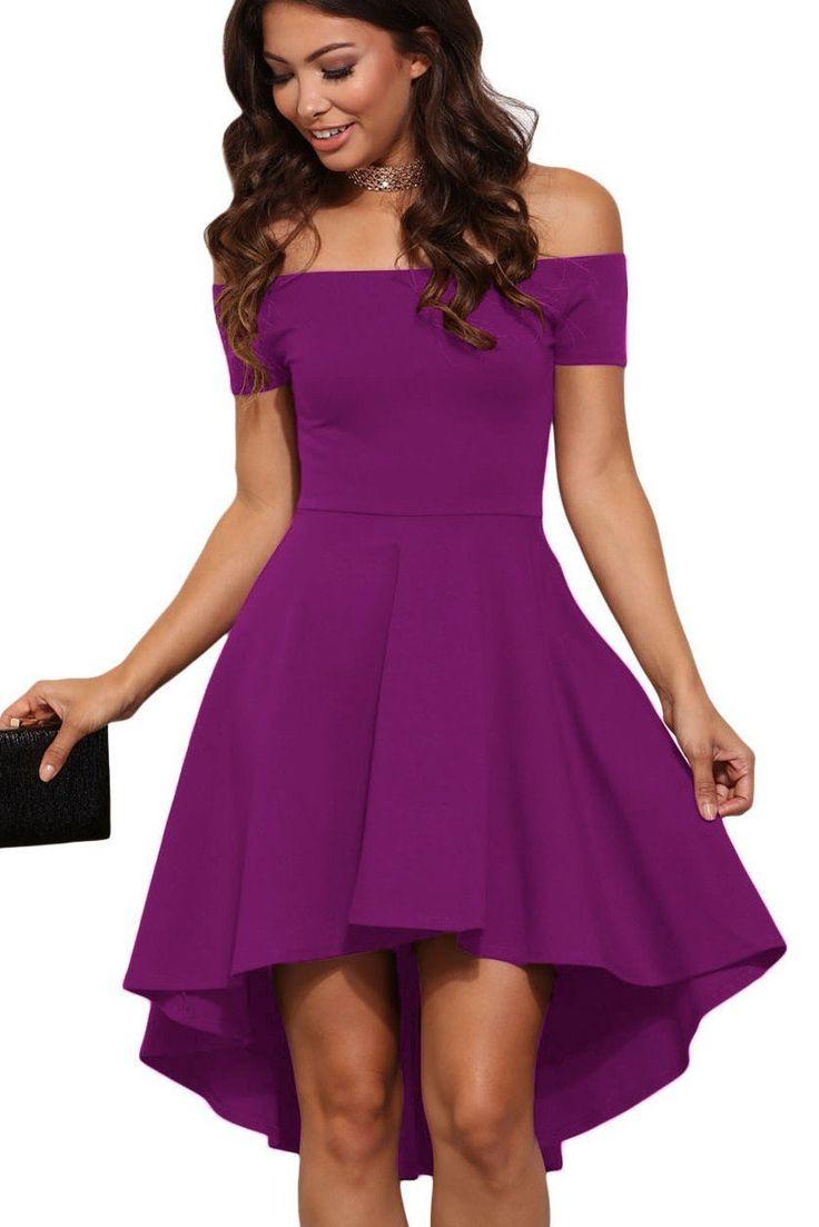 Robes de Cocktail Violet Epaules Denudees Manches Courtes Pas Cher www.modebuy.com @Modebuy #Modebuy #Violet #robes #femmes #gros