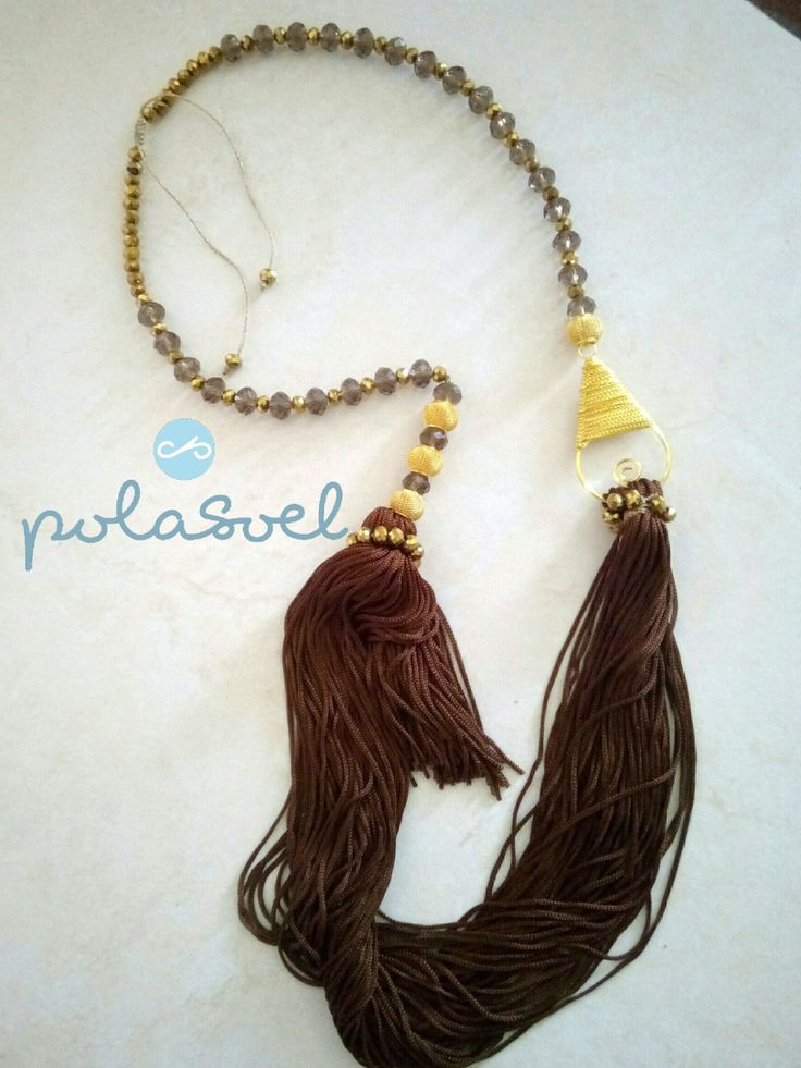 Macrame chain necklace, with iridescent bronze crystals, gold plated elements,double platinium and brown floss by polasoeljewelry on Etsy