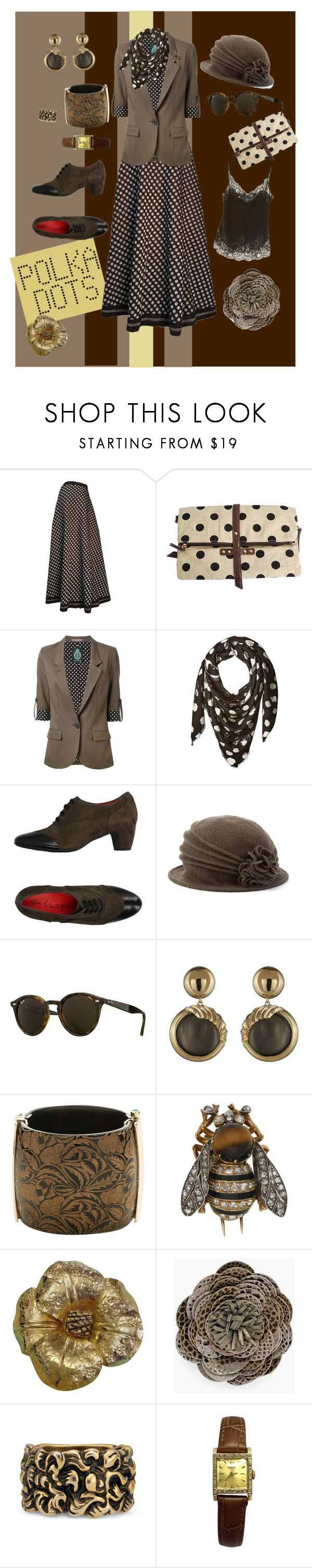 """""""Polka Dots - I"""" by mary-kay-de-jesus ❤ liked on Polyvore featuring Lanvin, Guild Prime, Armani Jeans, PAS DE ROUGE, Scala, Ray-Ban, Alexis Bittar, Yves Saint Laurent, Chico's and Gucci"""