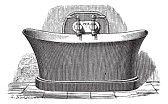 tina : Ilustración del Antiguo grabado de la bañera de cobre, que se establece para el baño público. Industrial enciclopedia E.-O. Lami - 1875.