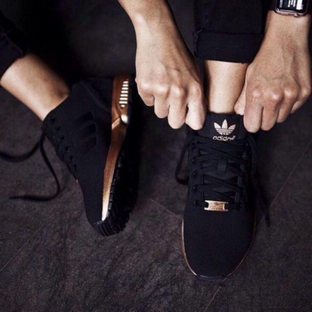 "Damen ""Adidas"" ZX Flux Schwarz Kupfer Rose Gold Metallic NMD – #Damen #Flux #gol…"