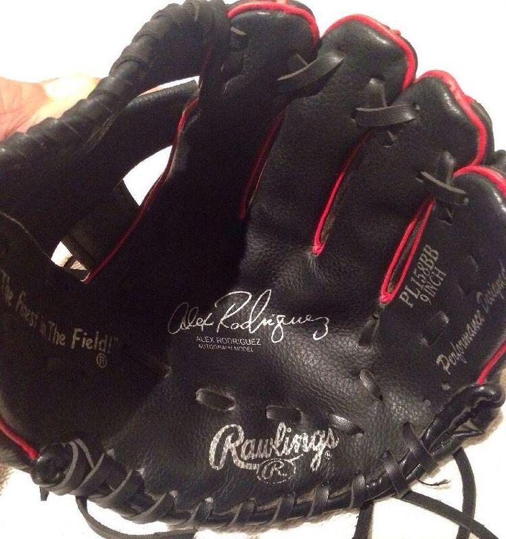 "Rawlings Youth Baseball Glove Alex Rodriguez Model PL158BB 9"" BLACK     eBay"