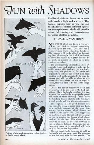 Fun with Shadows for Home Entertainers (Jan, 1930)