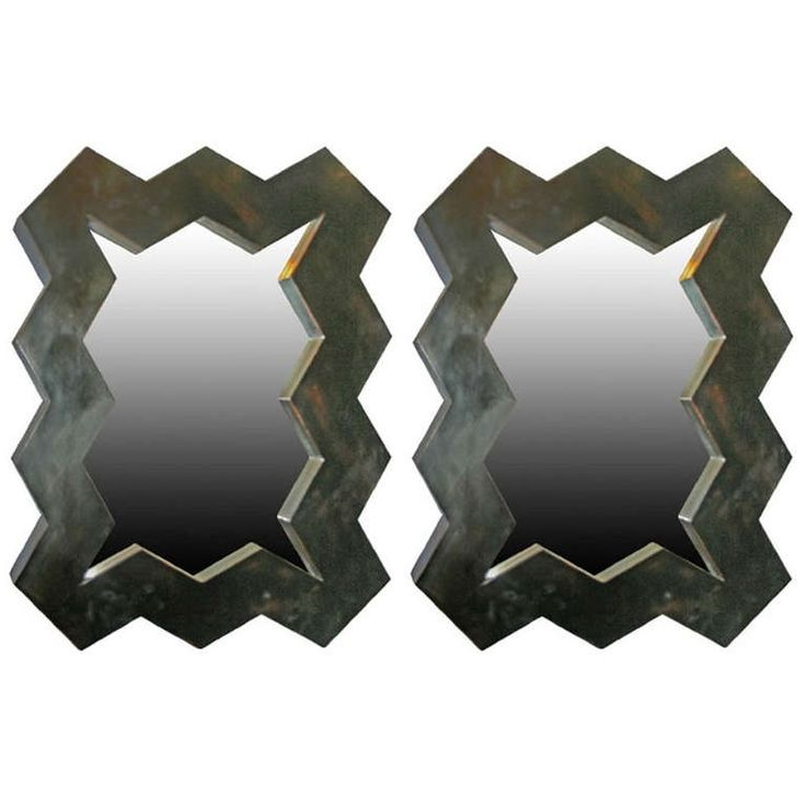 Pair of Custom 'Zig Zag' Mirrors in Ebonized wood