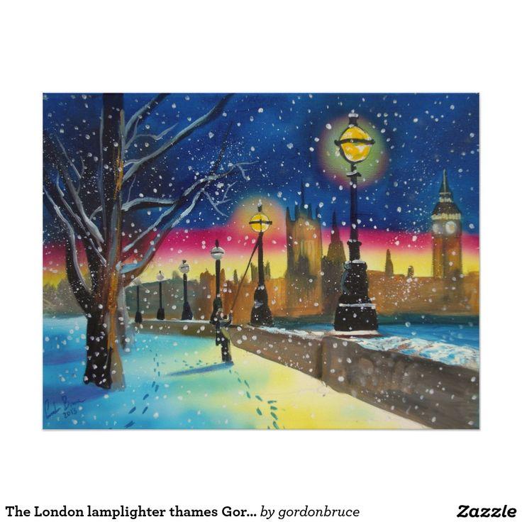 The London lamplighter thames Gordon Bruce art Poster