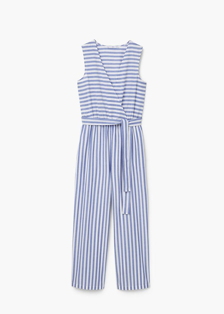 Striped cotton jumpsuit   MANGO
