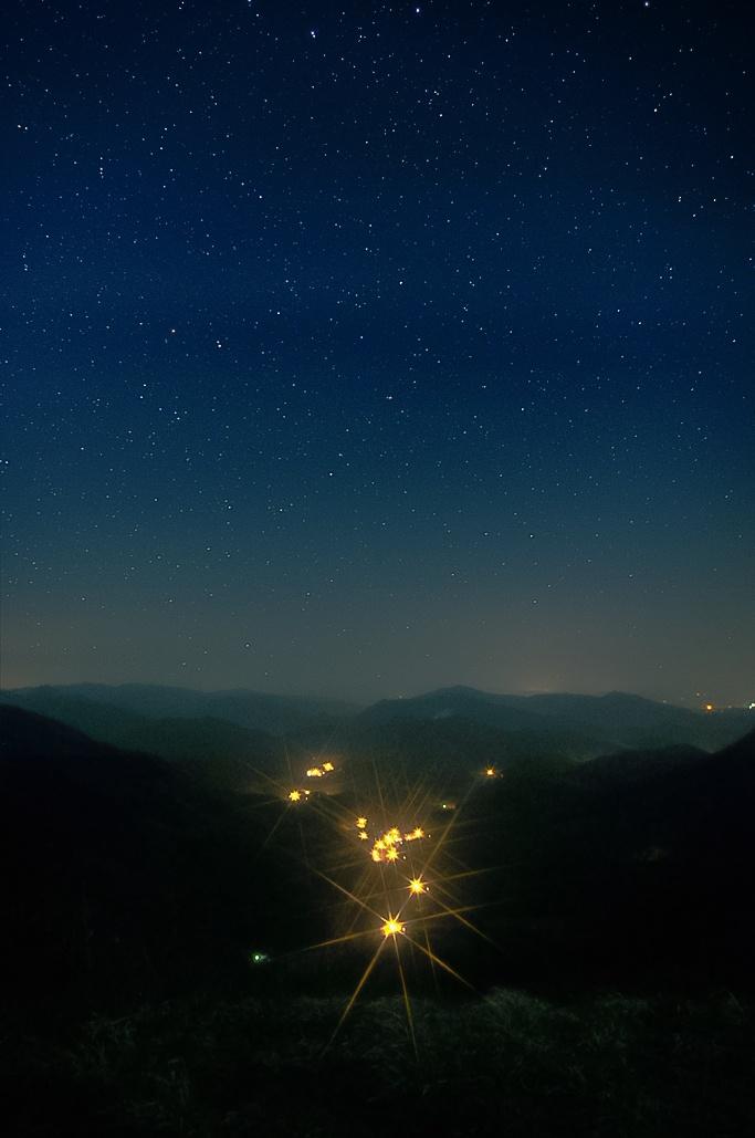 문경활공장에서 문경새재 방향으로 본 밤하늘