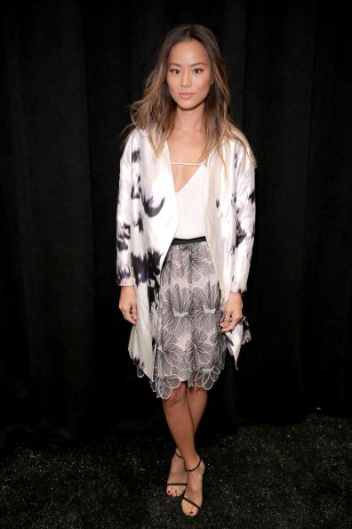 Jamie Chung poses backstage at the Lela Rose fashion show during Mercedes-Benz Fashion Week Spring 2015 at The Pavilion at Lincoln Center on September 8, 2014 in New York City.  (Photo by Chelsea Lauren/Getty Images for Mercedes-Benz Fashion Week)