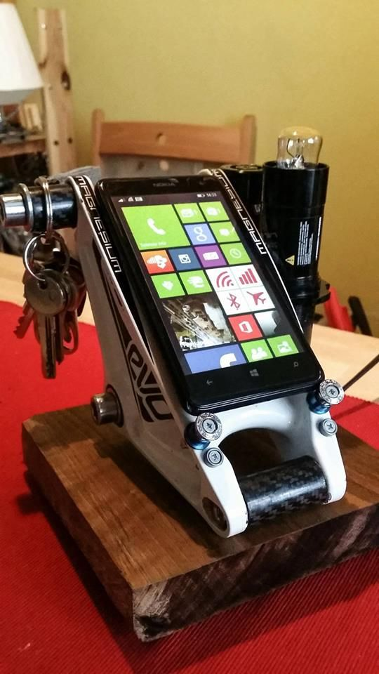 Handmade phone-holder from cycle parts