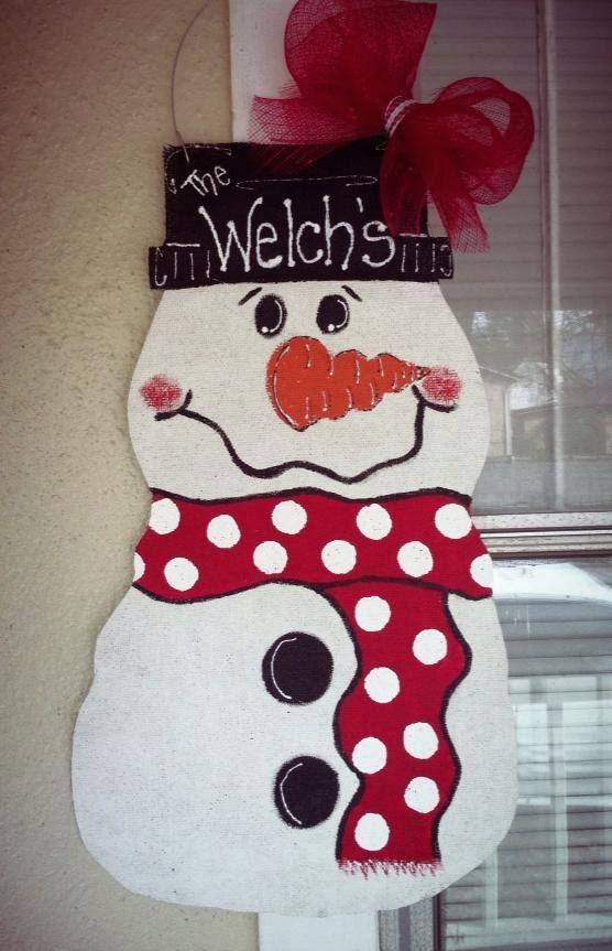 burlap snowman door hanging by NikkiDsCreations on Etsy, $25.00