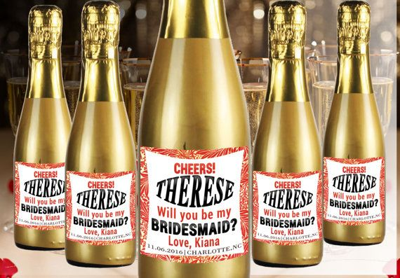 Check out this item in my Etsy shop https://www.etsy.com/listing/274463318/be-my-bridesmaid-mini-champagne-labels