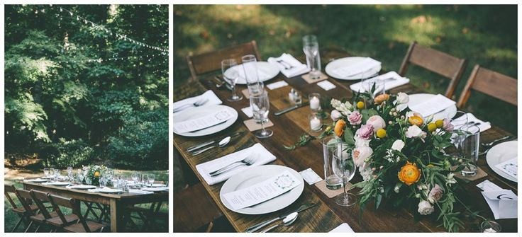 Farm tables at backyard wedding by Something Vintage Rentals in Maryland.    Something Vintage Rentals: handmade and vintage rentals in Washington DC, Maryland, and Virginia