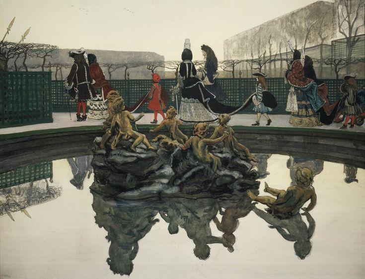 Alexandre Nikolayevich Benois (1870-1960) La promenade du roi. 1906 Carton, aquarelle, plume, crayon, gouache, peinture argentée, peinture d'or. 48 x 62 cm La galerie Tretiakov, Moscou