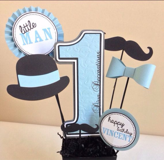 Little Man Mustache Birthday Party Centerpiece by DivaDecorations