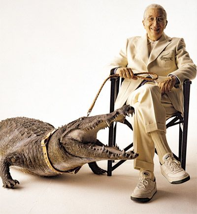 """René LACOSTE 1904-1996. """"Crocodile"""" was born in 1927. René LACOSTE liked to recount how his nickname became an emblem recognized throughout the world. """"I was nicknamed """"the Alligator"""" by the American press, after a bet with the Captain of the French Davis Cup Team concerning a suitcase made from alligator skin. He promised to buy it for me if I won a very important match for our team. So my friend Robert GEORGE drew a 'crocodile' which I then had embroidered on the blazer I wore on the…"""