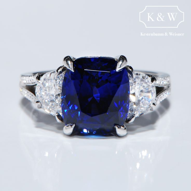 Here is the reflection of a bright half moon off the rippling waves of a deep blue ocean... a Sapphire flanked by half moon diamonds with a diamond encrusted split shank platinum band. #handcrafted #kwdiamondsdesign