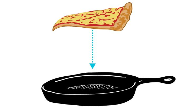 "Best Way to Reheat Pizza? In a Skillet! (I have long been a fan of reheating inside an oven as opposed to inside a microwave, but a skillet does seem quicker. Also, as the author points out: ""If you believe in grilled cheese sandwiches, you can believe in reheating pizza in a skillet!"". I think he has a point.)"