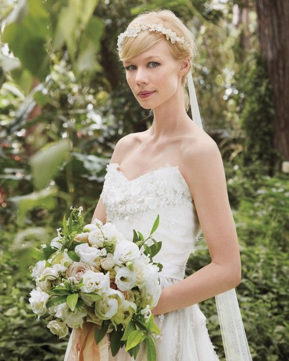 For her fairy-tale wedding, Erin Fetherston wore a dress of her own design and an angelic floral halo with a cascading ribbon in the back.
