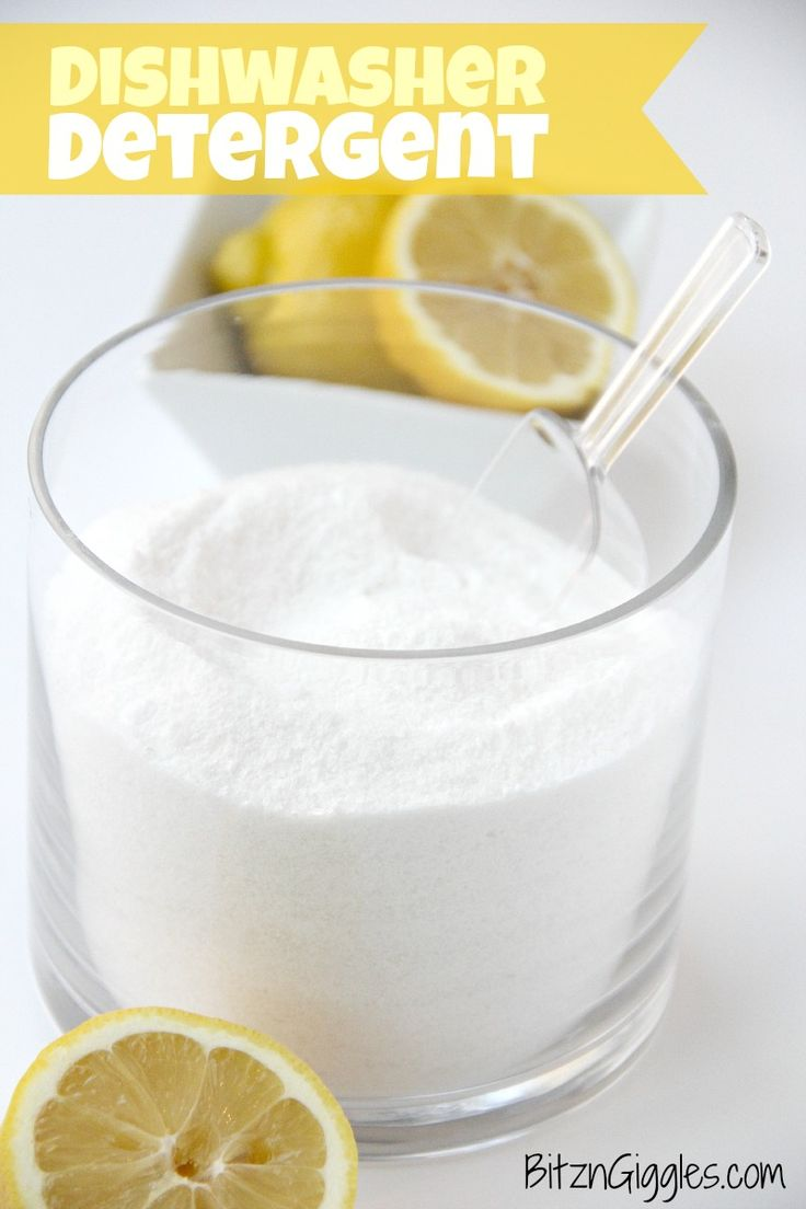 DIY Dishwasher Detergent -  1 cup washing soda, 1 cup baking soda, 1 cup Epsom salt, 1/3 cup LemiShine (Wal-Mart). Love it! Lemon essential oil optional.