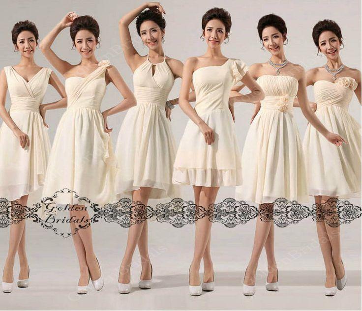 short ivory white Bridesmaid Dress / by GoldenBridalsDresses, $59.00