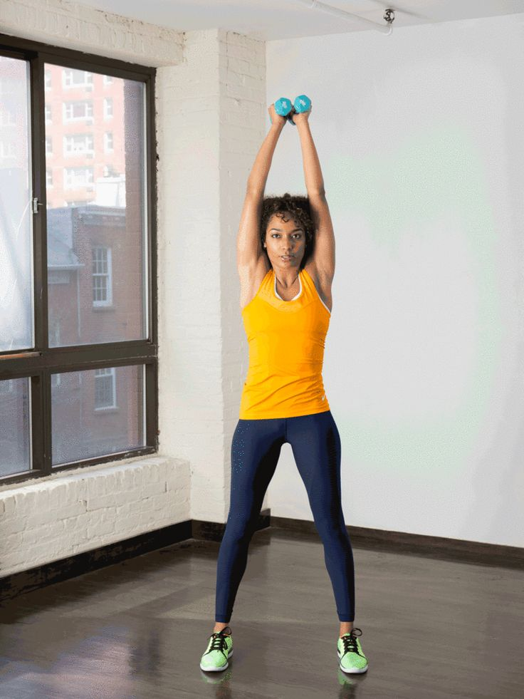 6. Standing Side Bends With Dumbbells Overhead #standing #abs #workout http://greatist.com/move/abs-workout-best-abs-exercises-you-can-do-standing-up