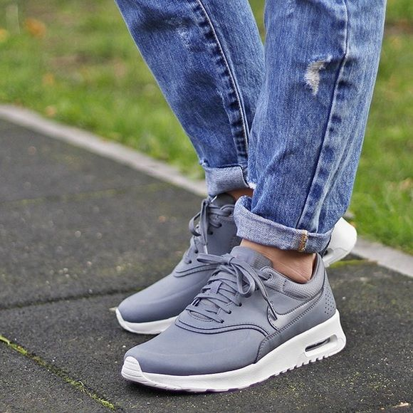 cff4ea14c9bb Nike Air Max Thea Grey Premium Leather Sneakers •Air Max Thea Premium  Leather sneakers in grey. •Size 5.5