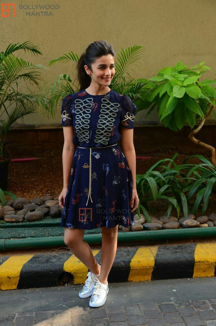 Alia bhatt in tommy hilfiger frock & clarks shoes at  dear zindagi promotions
