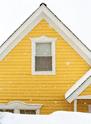 .: Winter Snow, Paintings Art, Houses Colors, White Houses, Mellow Yellow, Yellow Houses, White Snow, Colors Yellow, Sunny Yellow