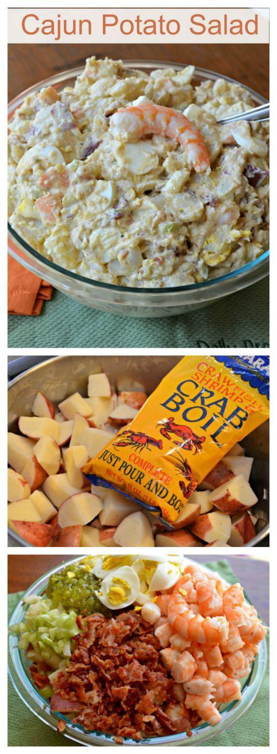 This Cajun Potato Salad with shrimp is the best potato salad I have ever had. What is the secret method? #recipe