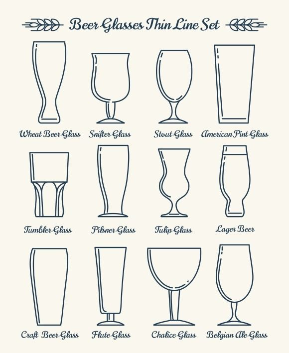 Beer glassware line icons @creativework247