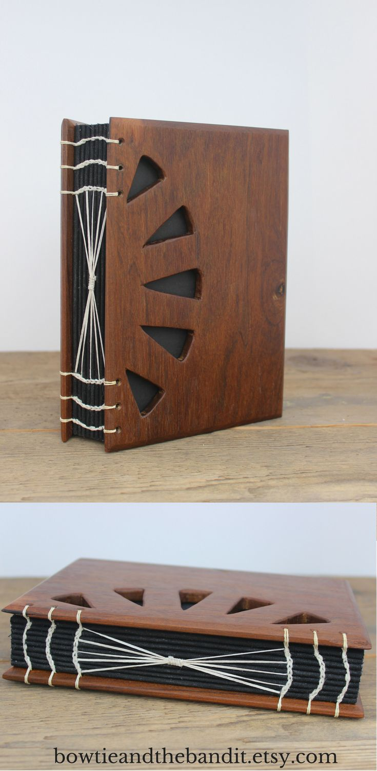 Ipe 'Ironwood' Wood Covered Journal - Handcrafted and Handbound by Bowtie and the Bandit in an unplugged wood shop. handbound custom coptic stitch, wooden journal, first paper anniversary, wood anniversary gift , wooden sketchbook, blank page journal