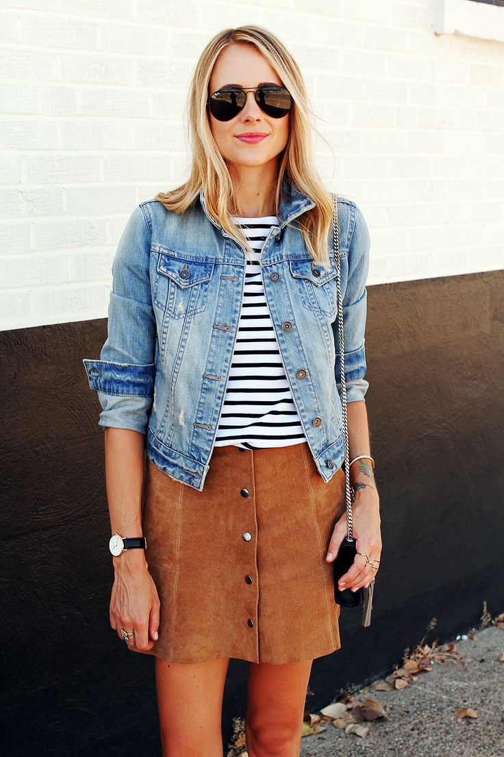 striped shirt, denim jacket, brown suede button front A-line skirt