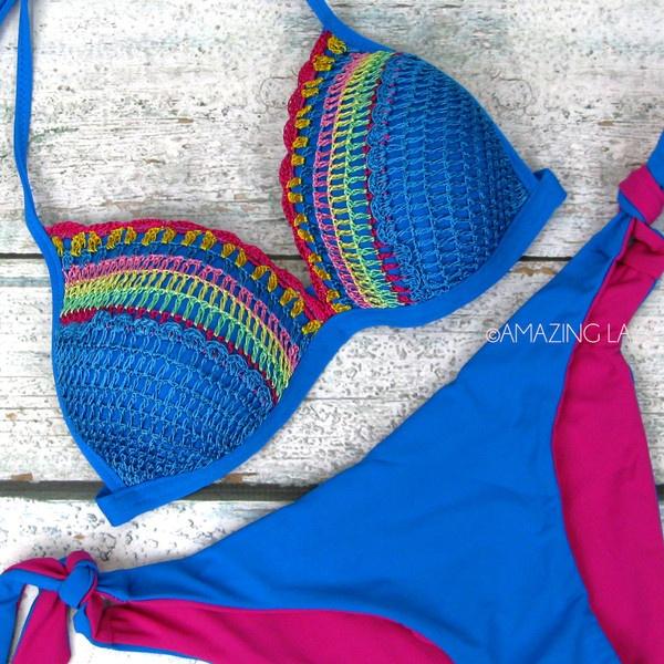 Gator Bait Crochet Push Up Bikini