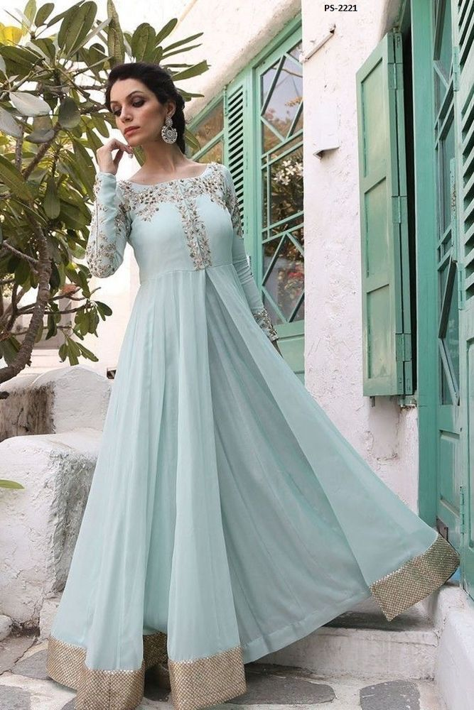 Traditional Fashion Wedding Suit Powder Blue Anarkali Dress Plus Size PS-2221 #EthnicDresses #Anarkali
