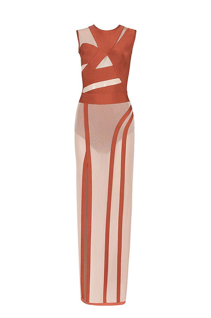 Sexy Solid O Neck Sleeveless Hollow Out Summer Bandage Women Lady Bodysuits With Floor Length Skirt