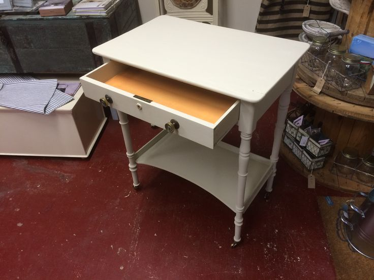 """Beautiful Victorian side table professionally up cycled by The Store Room Gorey. Our vintage paints used were """" Dijon ! [ Drawer liner ] and """" Chapel """"  Stunning piece with brass fittings.  Offers on € 480.00  tel: 053-94-84626 SOLD"""