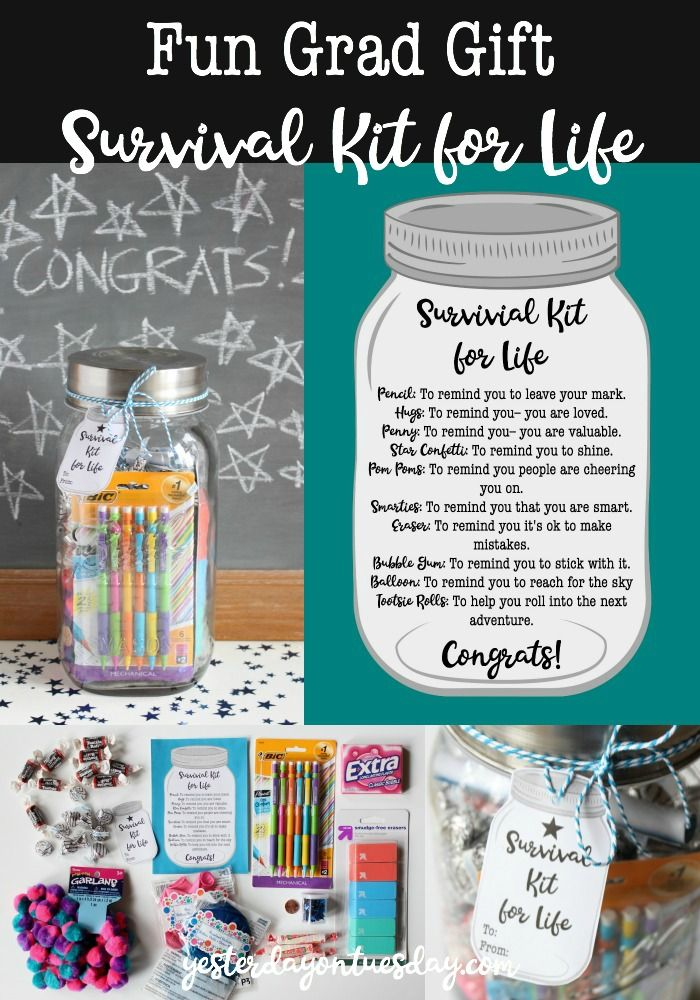Fun Grad Gift Survival Kit for Life: A cute and budget friendly graduation gift in mason jar for that special grad! Printable note and tag, sure to make them feel loved and special!    graduation | grad | mason jar
