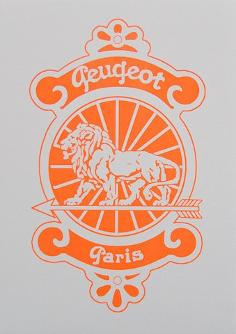 Silkscreen Poster of the Peugeot Paris vintage bicycle head badge - produced for the Grand Boucle exhibition