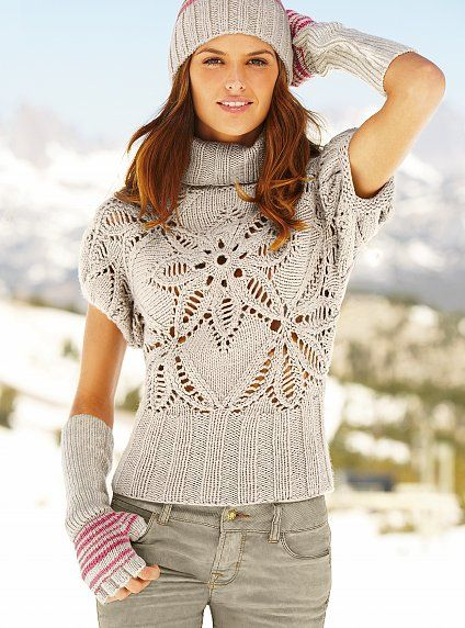 Gray Sweater Top free knitting graph pattern